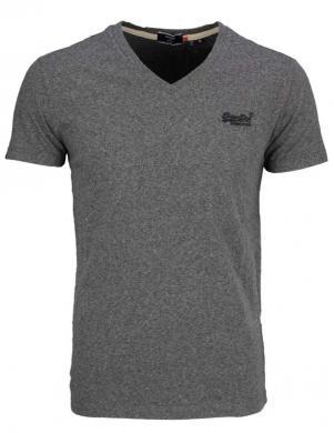 SUPERDRY vīriešu tumši pelēks kokvilnas krekls COTTON CLASSIC V-NECK T-SHIRT