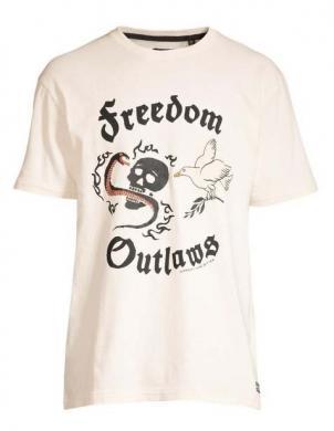 SUPERDRY vīriešu krēmīgs kokvilnas krekls NOHO ROCK GRAPHIC T-SHIRT