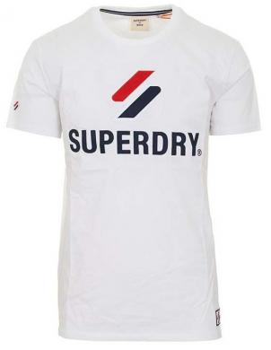 SUPERDRY vīriešu balts kokvilnas krekls ar uzrakstu SPORTSTYLE CLASSIC T-SHIRT