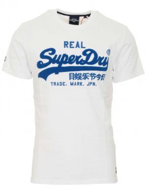 SUPERDRY vīriešu balts kokvilnas krekls VINTAGE LOGO CHENILLE T-SHIRT