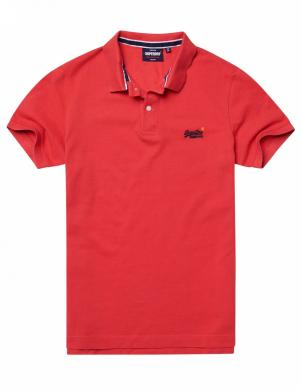 SUPERDRY vīriešu sarkans kokvilnas polo krekls CLASSIC PIQUE SHORT SLEEVE POLO SHIRT