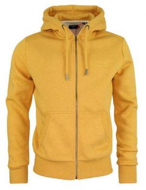 SUPERDRY vīriešu dzeltens džemperis ar kapuci un rāvējslēdzēju OL CLASSIC ZIP HOOD IN RUST