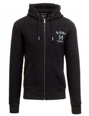 SUPERDRY vīriešu melns džemperis ar kapuci un aplikāciju MILITARY NON BRAND ZIP HOOD