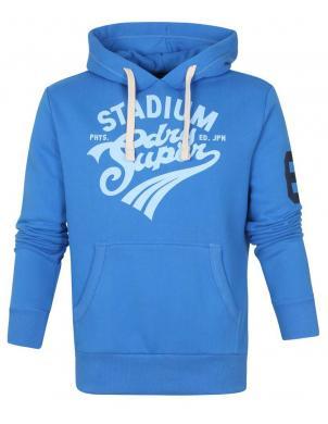 SUPERDRY vīriešu zils džemperis ar kapuci COLLEGIATE GRAPHIC OVERHEAD HOODIE
