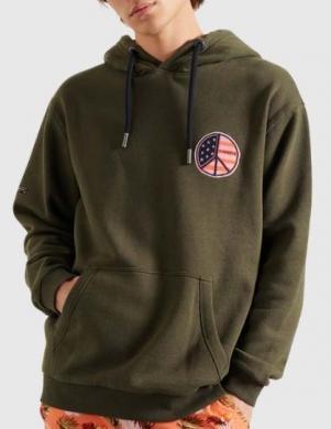 SUPERDRY vīriešu tumši zaļš džemperis ar kapuci MILITARY GRAPHIC HOODIE