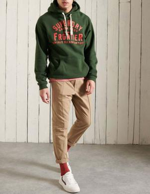 SUPERDRY vīriešu tumši zaļš džemperis ar kapuci HERITAGE MOUNTAIN GRAPHIC HOODIE