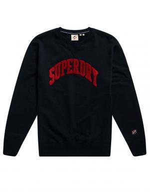 SUPERDRY vīriešu melns sporta džemperis ar uzrakstu SPORT TRUE VARSITY SWEATSHIRT