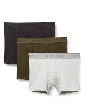SUPERDRY vīriešu melni/pelēki/brūngani zaļi šorti CLASSIC BOXER TRIPLE PACK (3 gab.)