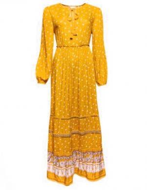 SUPERDRY sieviešu dzeltena rakstaina gara kleita BASIC W AMEERA MAXI DRESS