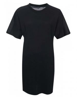 SUPERDRY sieviešu melna īsa blūze-kleita COTTON MODAL T-SHIRT DRESS