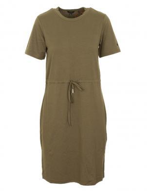 SUPERDRY sieviešu brūngani zaļa midi kleita DRAWSTRING T-SHIRT DRESS