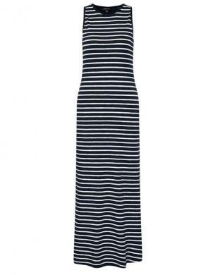 SUPERDRY sieviešu tumši zila svītraina gara kleita JERSEY MAXI DRESS