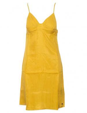SUPERDRY sieviešu dzeltena īsa kleita ar lencēm BASIC W TENCEL CAMI DRESS
