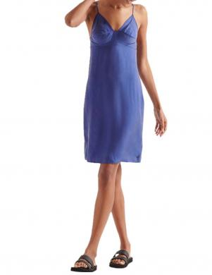 SUPERDRY sieviešu zila īsa kleita ar lencēm BASIC W TENCEL CAMI DRESS