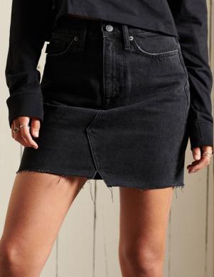 SUPERDRY sieviešu melni džinsa svārki DENIM MINI SKIRT