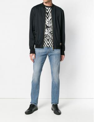 Melnas krāsas vīriešus džemperis ar rāvējslēdzi CAVALLI CLASS