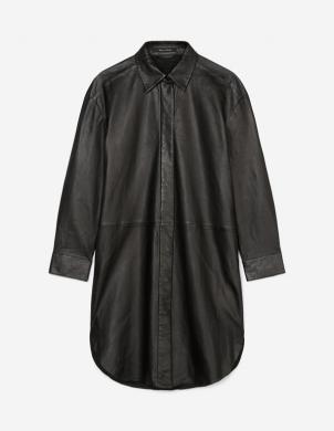 MARC O POLO sieviešu melna ādas krekla tipa kleita