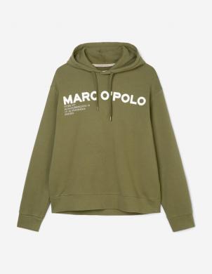 MARC O POLO vīriešu tumši zaļš džemperis ar kapuci un uzrakstu