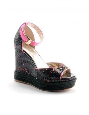 Sieviešu melnas sandales ar augstu platformu VERSACE JEANS