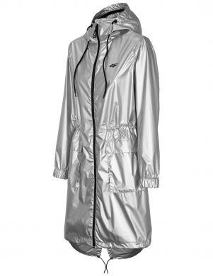 Sieviešu sudraba krāsas gara brīva laika jaka ar kapuci KUDC002 4F