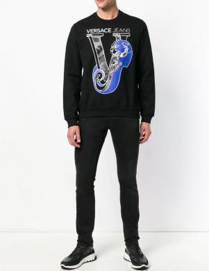 VERSACE JEANS melns vīriešu džemperis ar aplikāciju