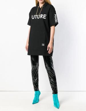 VERSACE JEANS melns sieviešu džemperis ar īsām piedurknēm