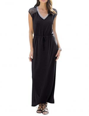 Sieviešu melna gara kleita ar rakstiem ALBA MODA