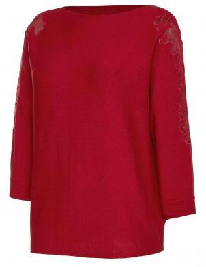 Sarkans džemperis ar mežģīņu detaļām CREATION L PREMIUM