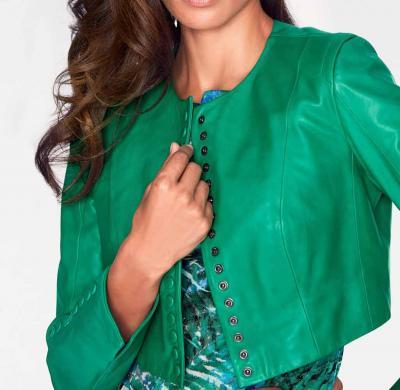 Zaļa sieviešu ādas jaka ASHLEY BROOKE
