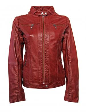 Sarkana ādas jaka CROSS LINERS