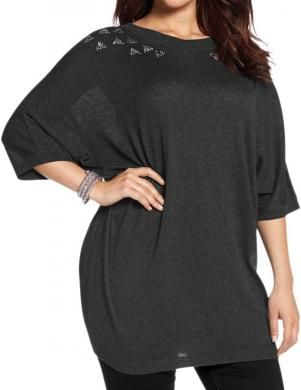 ZIZZI tumši pelēkas krāsas sieviešu džemperis ar 3/4 garuma piedurknēm