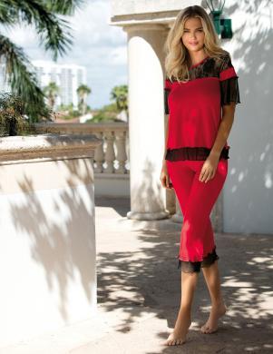 DKAREN sarkana sieviešu pidžama MANUELA