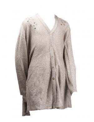 SILVIAN HEACH KIDS spīdīgs pelēkas krāsas sieviešu džemperis