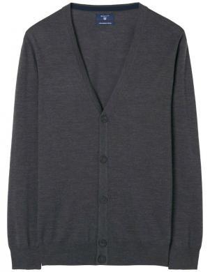 Tumši pelēks vilnas vīriešu džemperis GANT