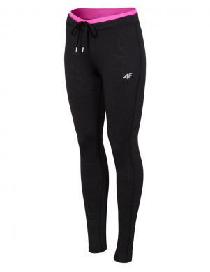 4F melnas krāsas sieviešu sporta bikses