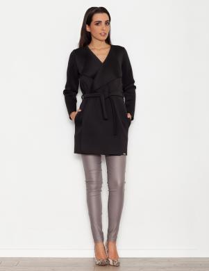 KATRUS viegla melna sieviešu jaka ar jostu