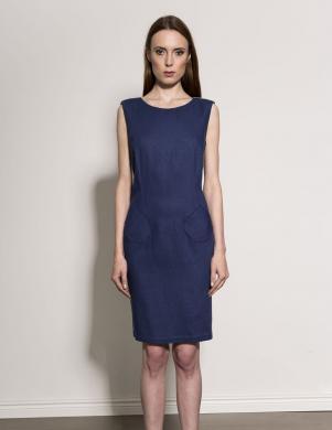KUMI tumši zila sieviešu kleita ar dekoru