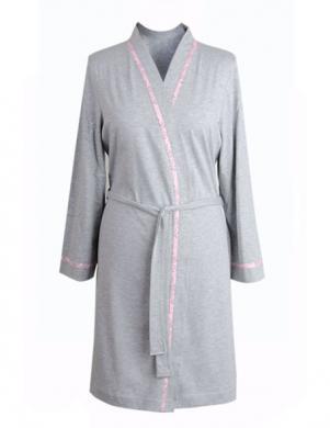 MUZZY pelēkas krāsas skaists sieviešu kokvilna halāts