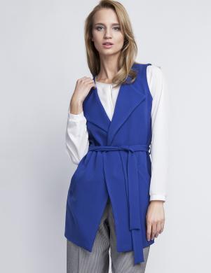 LANTI zila sieviešu veste ar siksnu un kabatām