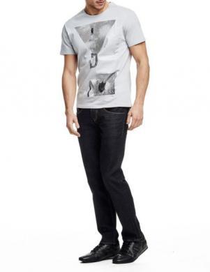 GUESS pelēks vīriešu krekls ar aplikāciju