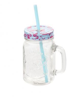 Stikla glāze ar salmiņu 450 ml FLAMINGO