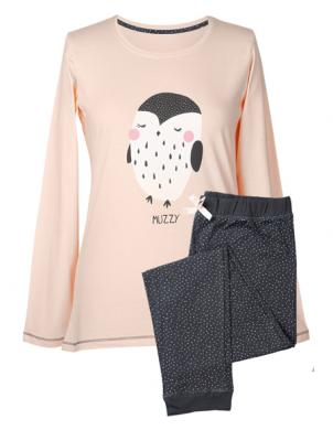 MUZZY krēmīgas krāsas sieviešu pidžama