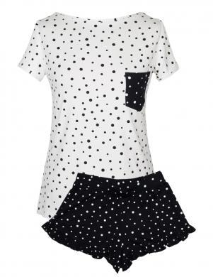 MUZZY balta/melna sieviešu pidžama