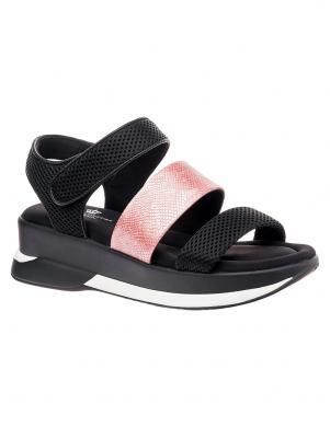 Sieviešu melnas pilnpapēža sandales ar rpozā lenci KEDDO