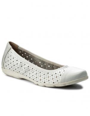 Sieviešu balti ādas apavi ar caurumiņiem CAPRICE