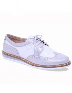 Sieviešu sudraba krāsas oksforda stila ādas apavi CAPRICE