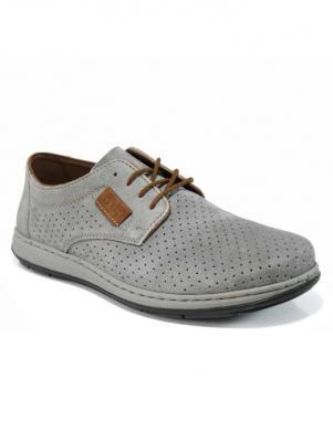 Vīriešu pelēki ādas perforēti apavi RIEKER