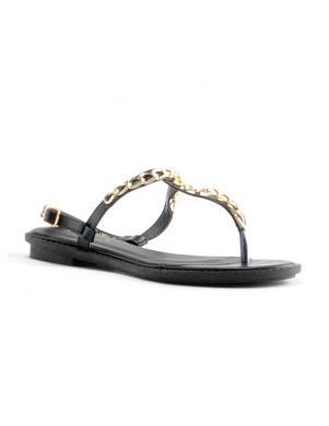 Sieviešu melnas atviros sandales pār pirkstu STELLA