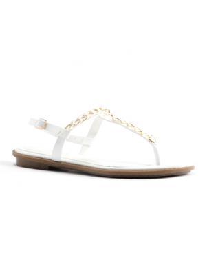 Sieviešu baltas atvērtas sandales pār pirkstu STELLA
