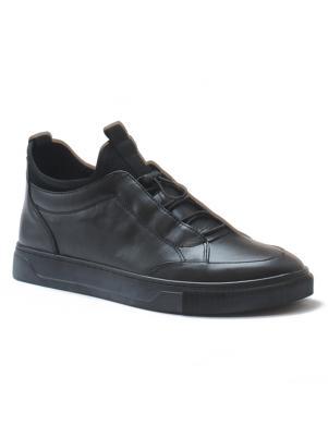 LA CONTE vīriešu melni ādas brīva laika apavi